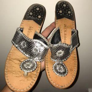 Silver size 8 JACK ROGERS wedge heel